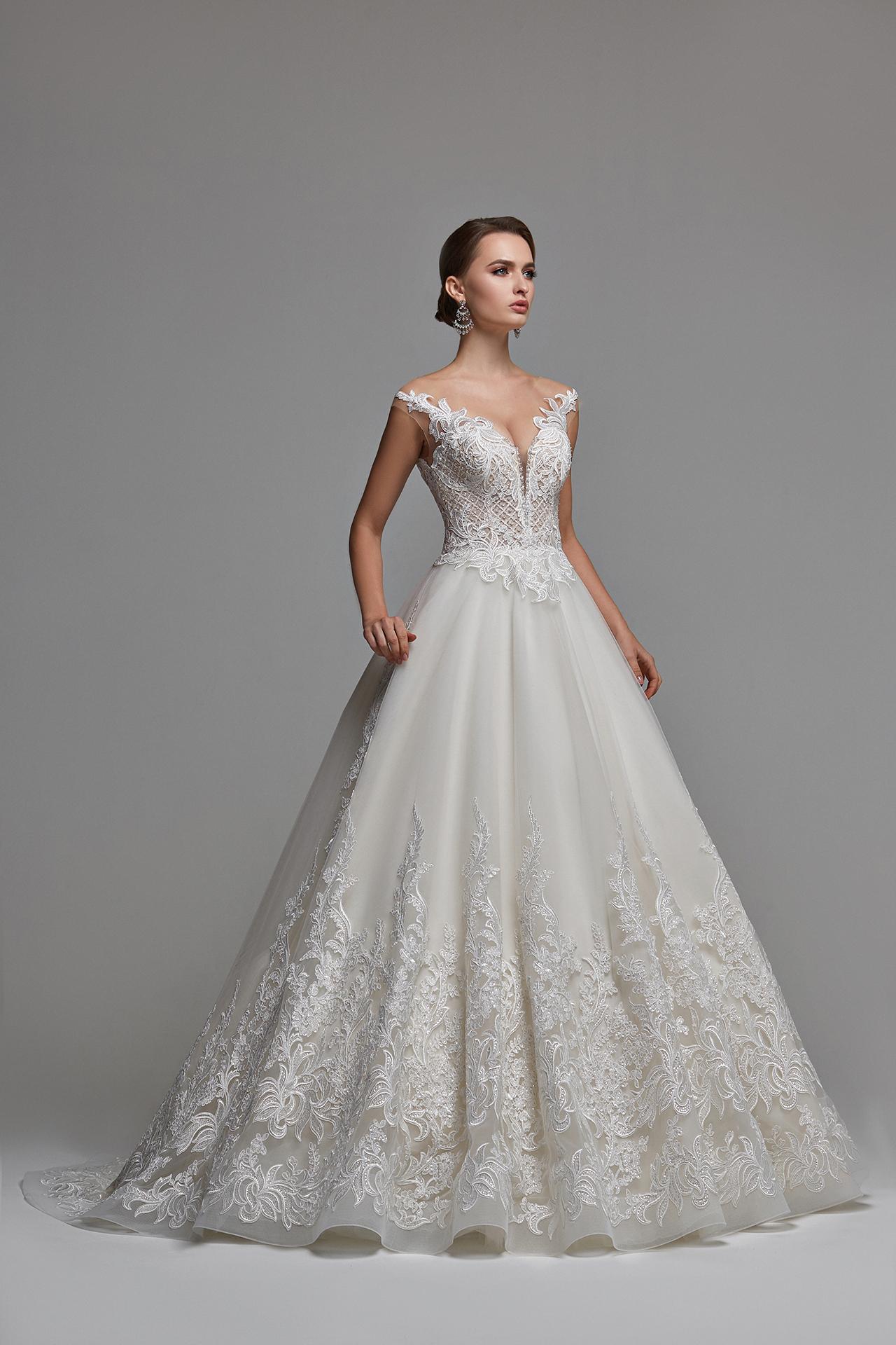 Buy Online Wedding Dress Monica Princess Ball Gown Off The Shoulder V Neckline,Lace Beach Boho Wedding Dress