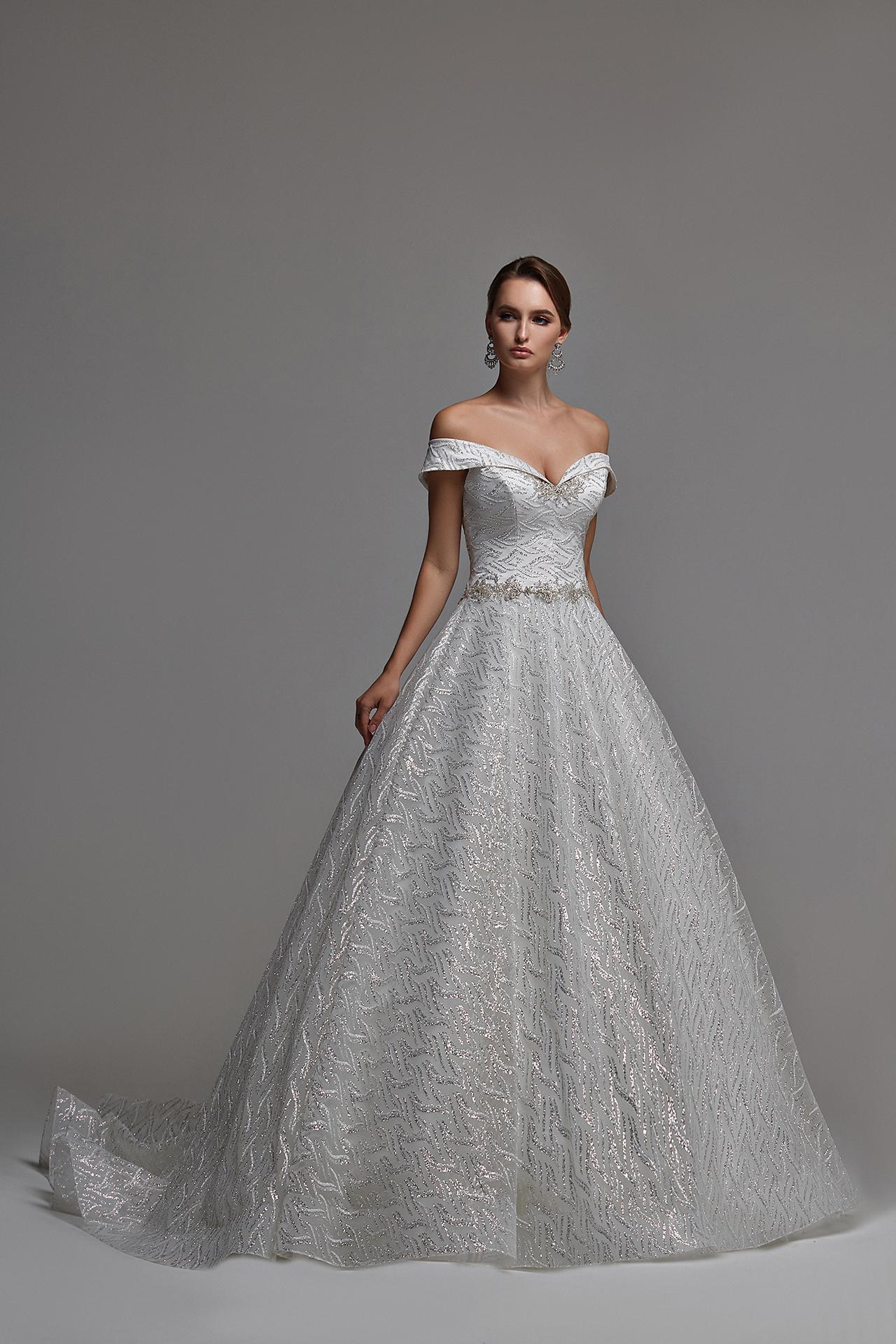 Funkelndes Tüll Ballkleid , Brautkleid mit bestickter Spitze