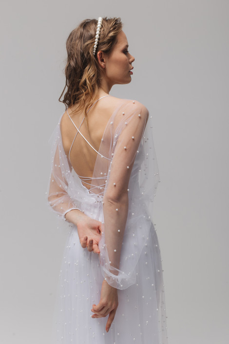 Silk sheath wedding dress, Elegant satin wedding gown with an add-on pearl beaded tulle cape, Charlotte