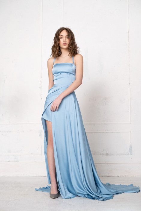 Diane silk blue bell dress for bridesmaid