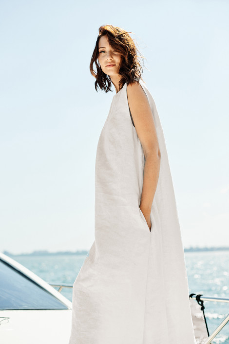 Dress Camilla linen nude