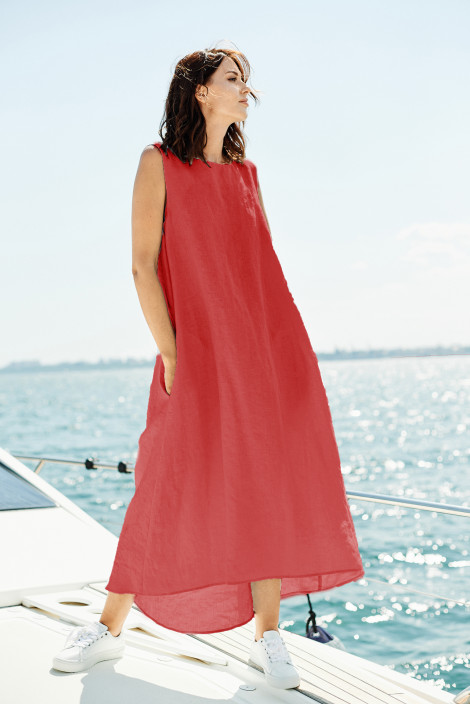 Dress Camilla linen ruby red