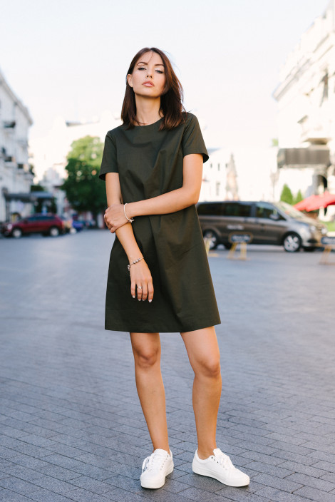Dress Gina cotton army green