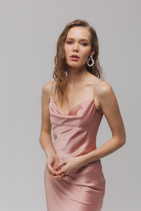 Cowl silk satin slip dress, Midi pink silk bridesmaid dress, Pink silk coktail dress, Silk wrap dress midi, Floria 4