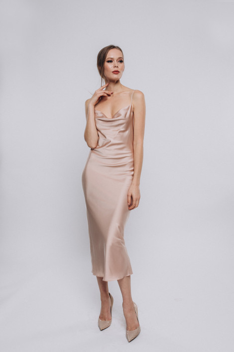 Cowl silk satin slip dress, Midi champagne(beige) silk bridesmaid dress, Champagne(beige) silk cocktail dress, Silk wrap dress midi, Floria 3