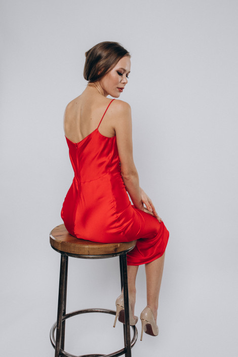 Cowl silk satin slip dress, Midi red silk bridesmaid dress, Red silk cocktail dress, Silk wrap dress midi, Floria 2