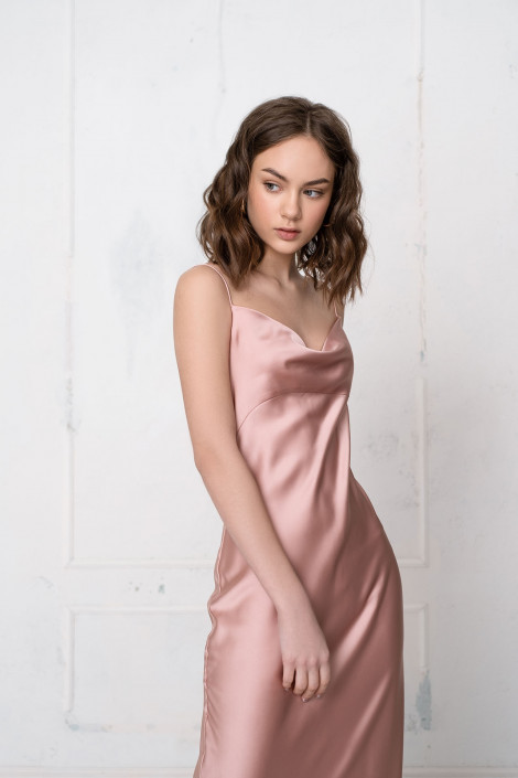 Cowl silk satin slip dress, Pink (rose gold) silk bridesmaid dress, Pink (rose gold) silk coktail dress, Silk wrap dress long, Florian 4