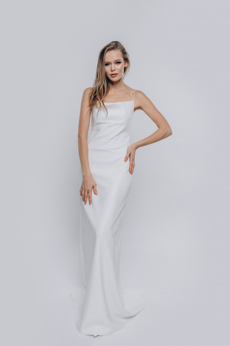 Wedding dress white leather, Modern slip style cocktail dress, Sexy engagement dress, Unique prom dress, Flora