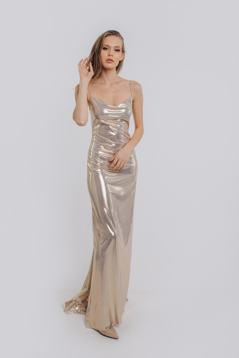 Cowl lurex slip dress, Gold lurex demoiselle d'honneur dress, Gold lurex cocktail dress, Lurex evening dress long, Floriana