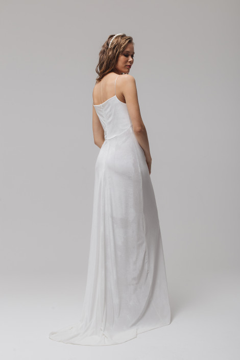 White velvet wedding dress, White velvet bridesmaid dress cowl neckline slip dress style, Velvet bridal gown, Sexy wedding dress, Floriani