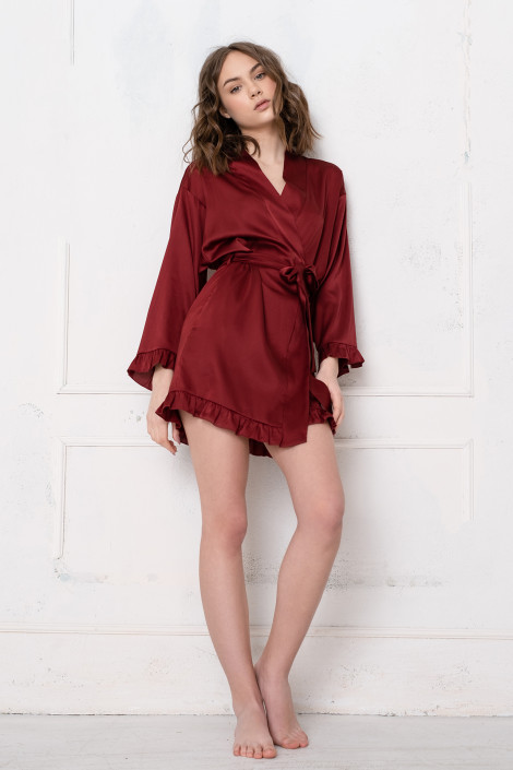 Grace burgundy dressing gown