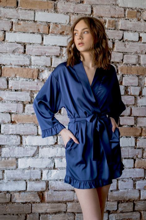 Grace navy dressing gown