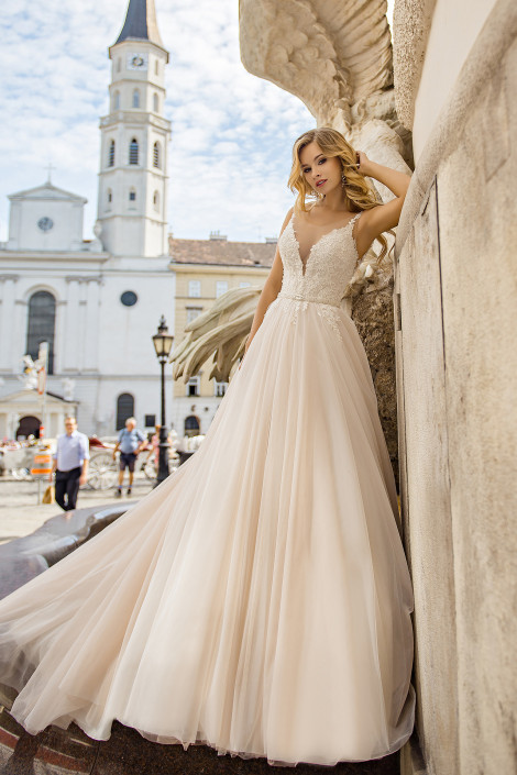 Romantic floral wedding dress , Blush tulle wedding dress, Beautiful fairy wedding gown, Unique empire wedding dress, Inesa