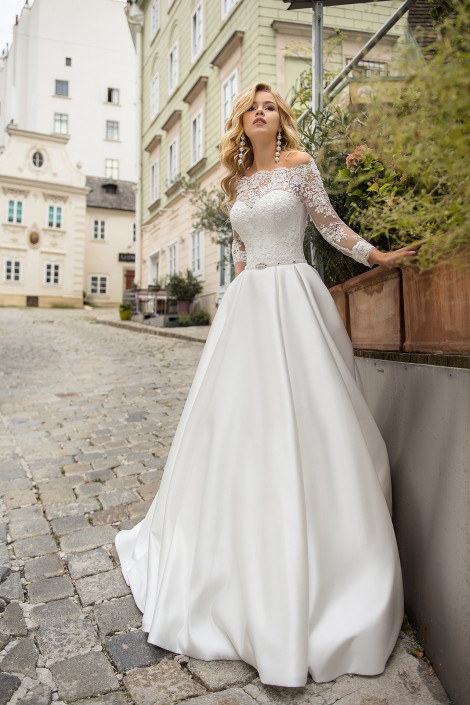 Sexy wedding dress silk, Boho style wedding dress, Long sleeves wedding dress, Embroidered lace bridal gown, Nina