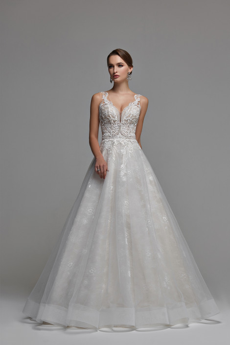 Tulle ball gown wedding dress, Ilusion a line wedding dress, Plunging illusion neckline lace wedding dress, White tulle ball gown, Paula