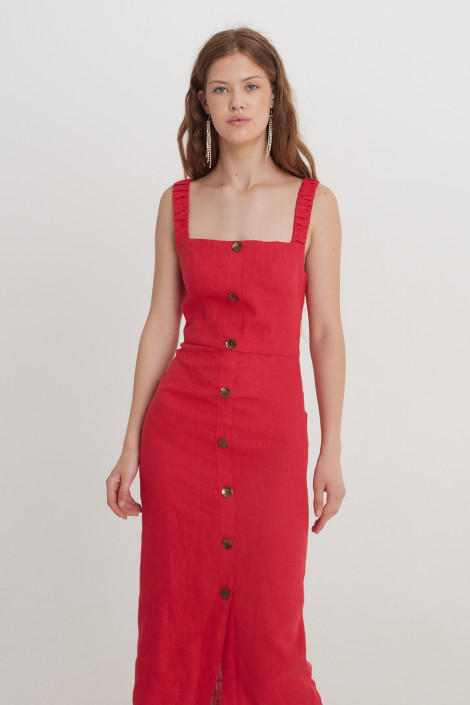 Robe Ruby en lin rubis rouge