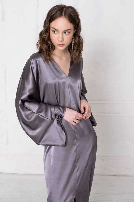 Tony satin dark gray dress