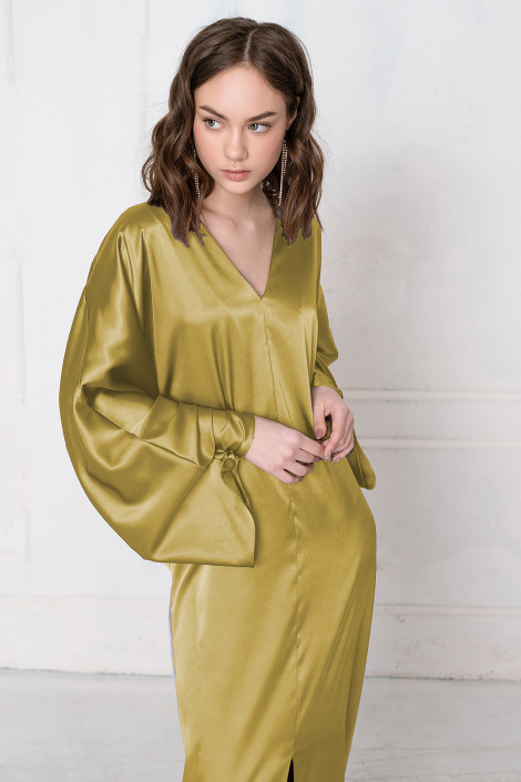 Tony satin khaki dress