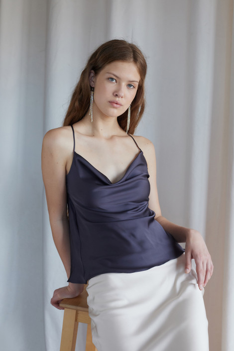 Top Claire silk cool gray