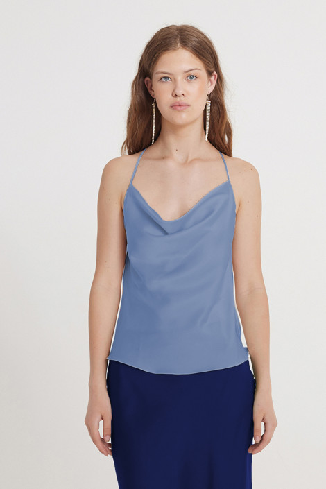Top Claire silk deep blue