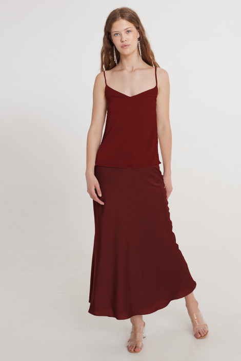 Top Kara silk burgundy