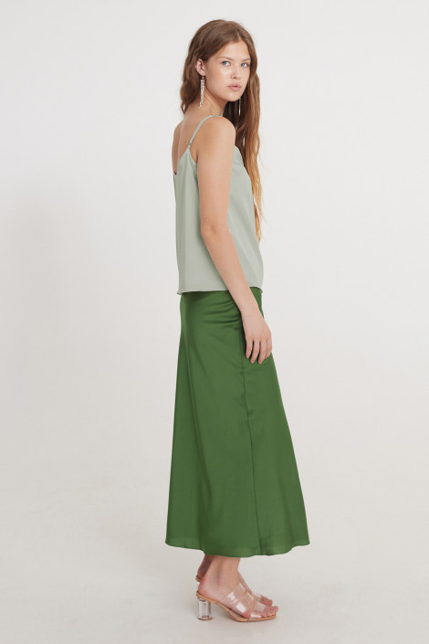 Top Kara silk olive