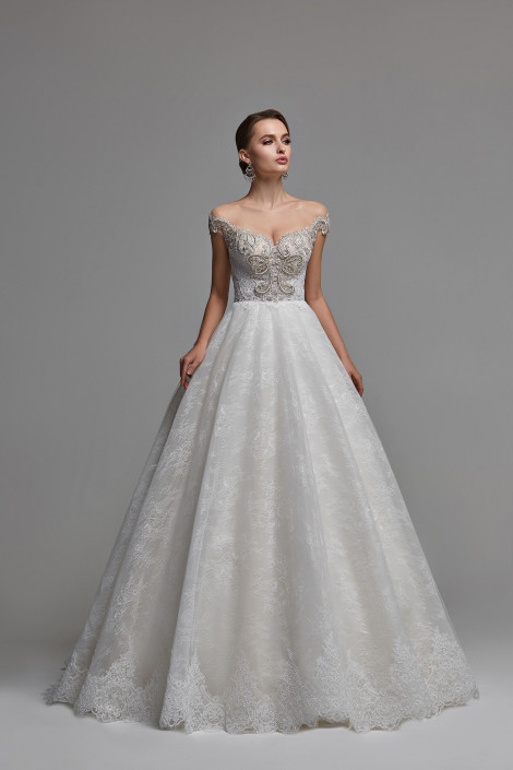 Off the shoulder lace wedding dress, Open back tulle wedding dress, Off the shoulder tulle ball gown, Floral embroidered bridal gown, Valerie