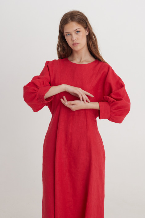Dress Vita linen ruby red