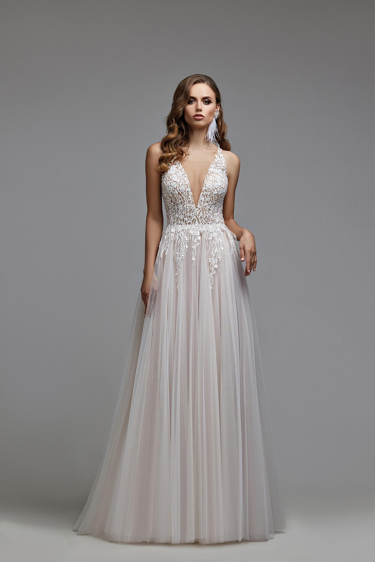 Hochzeitskleid im Boho-Stil,Blush Mesh Brautkleid,romantisches
